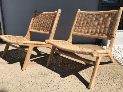 Pair Of Woven Wicker Seat / Back Wooden Mid-Century Modern Style Chairs
