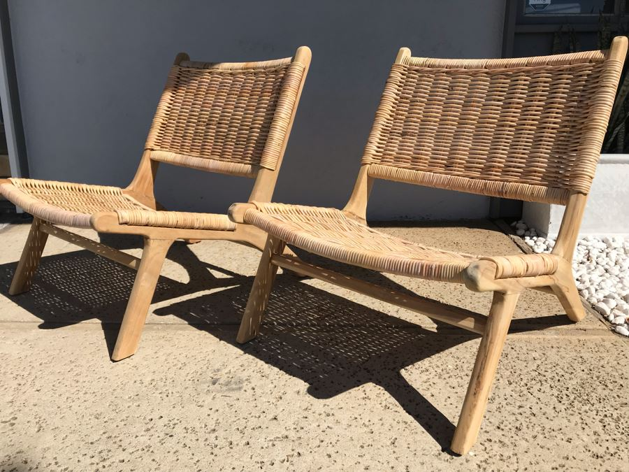 Pair Of Woven Wicker Seat / Back Wooden Mid-Century Modern Style Chairs [Photo 1]