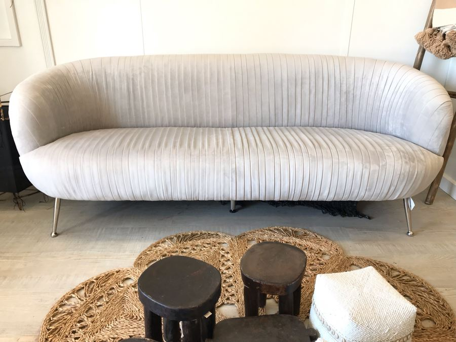 Stylish Lille Designer Sofa With Chrome Legs Mid-Century Modern Style 80W X 31D X 31H Retails $2,137 [Photo 1]