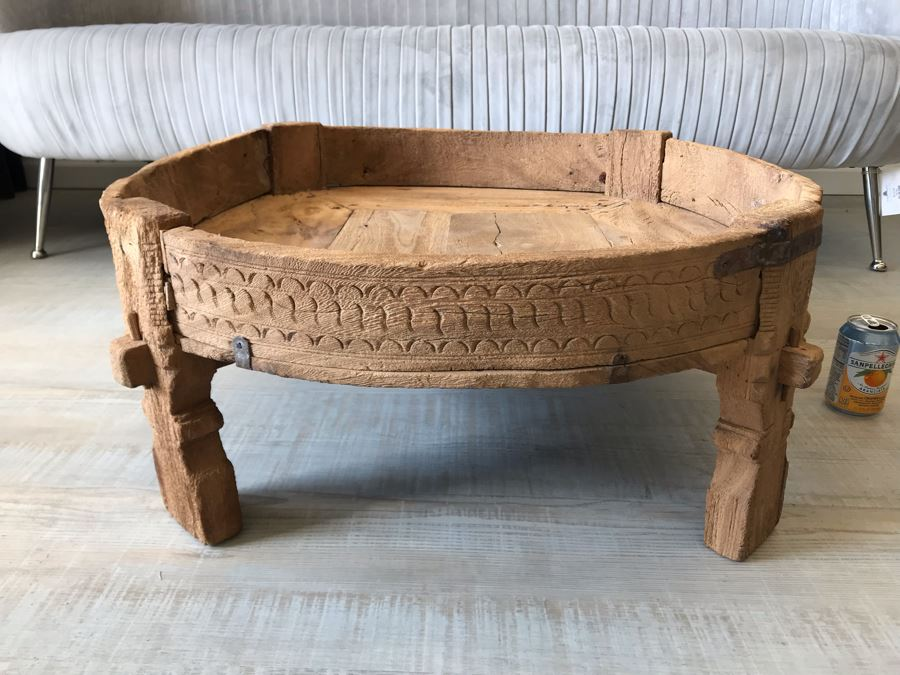 Rustic Handmade Round Wooden Coffee Table 29W X 11.5H [Photo 1]