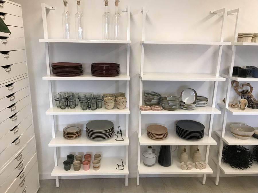 Pair Of White Powder Coated Metal 5-Shelf Shelving Display Units Screws Into Wall At Top 30W X 13D X 72.5H [Photo 1]