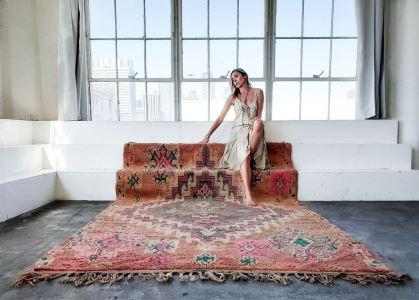 GABRIELLE Vintage Moroccan Rug 73' X 117' Retails $2,800