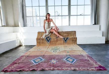 VIOLETTE Vintage Moroccan Rug 73.5' X 142' Retails $2,550