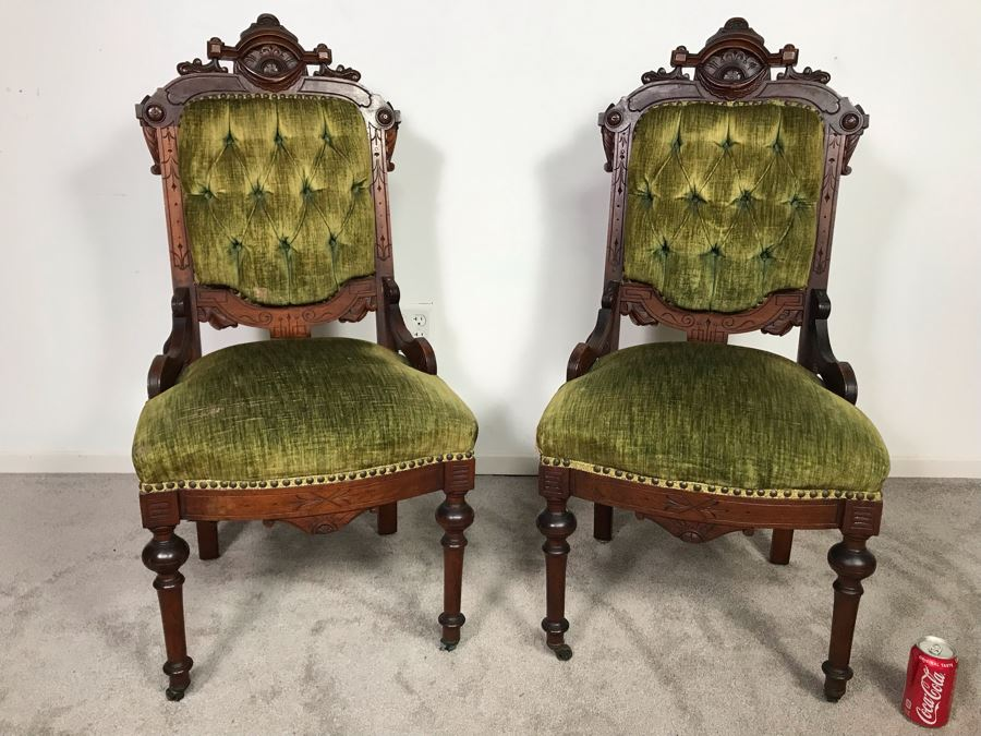 Pair Of Antique Eastlake Wooden Side Chairs With Tufted Green Upholstery - Just Added