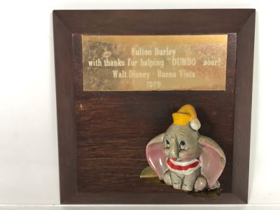 One Of A Kind Vintage 1976 Walt Disney - Buena Vista Fulton Burley Relief Wall Plaque For Helping Promote The Movie 'DUMBO' With DUMBO Figurine 6 X 6