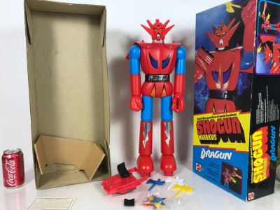 Vintage 1976 Like New With Box Mattel Shogun Warriors Dragun 23.5' Tall No. 9858 - See Photos For Damage To Wristband Of Star Shooter That Straps Onto Arm