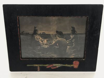 Antique Indian Cowboy Print In Vintage Wooden Frame With Native American Relief Peace Pipe 12 X 9.5