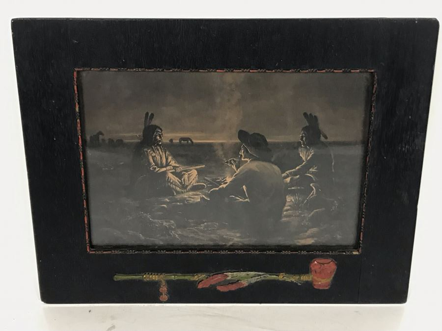 Antique Indian Cowboy Print In Vintage Wooden Frame With Native American Relief Peace Pipe 12 X 9.5 [Photo 1]