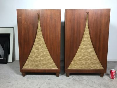 John Karlson Mid-Century Hi-Fi Cabinets Speakers Custom Built With Jensen H222 Coaxial 2 Way High Fidelity Loudspeaker Systems By Cabinet Maker Frank J. Pierce - Working 22W X 19D X 36H