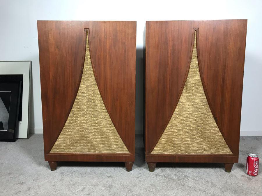 John Karlson Mid-Century Hi-Fi Cabinets Speakers Custom Built With Jensen H222 Coaxial 2 Way High Fidelity Loudspeaker Systems By Cabinet Maker Frank J. Pierce - Working 22W X 19D X 36H [Photo 1]