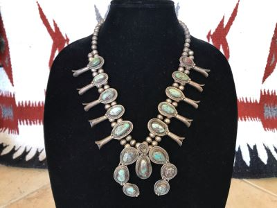 Vintage Native American Squash Blossom Necklace Navajo Made By Jackson Platero With Original Receipt Purchased In 1973 For $895 (Similar Necklace Is In Albuquerque Museum) 193.8g