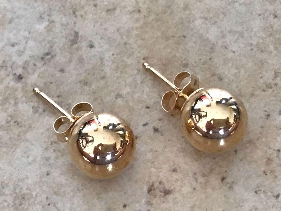 18K Gold Sphere Studs Earrings 0.7g [Photo 1]