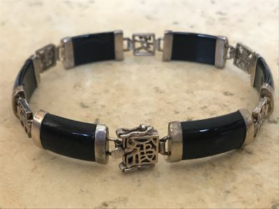 Sterling Silver Onyx Asian Bracelet 11.5g