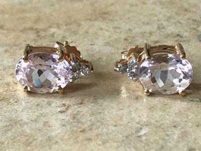 14K Gold + Morganite And Diamonds Earrings 3g