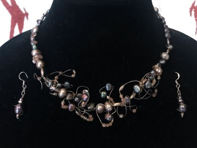 Artisan Hand Made Sterling Silver Tahitian Pearl Necklace And Matching Earrings By Muse IX By Lynda Caris