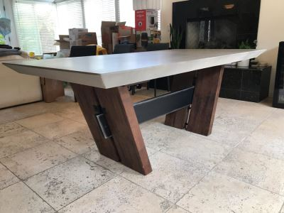 Bonham Dining Table For The Industrial Home Acutely Angled With Reclaimed French Oak Legs, Steel Stretcher And Smooth Grey Concrete Top With Beveled Edge 78W X 41D X 30H Retails $2,500