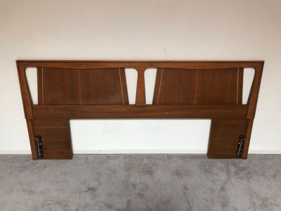 Mid-Century Modern Kent-Coffey Forum King Size Headboard (No Bed Rails) Walnut & Pecan Wood 79W X 36H