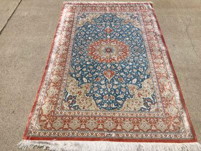 SIGNED Fine Silk Persian Area Rug 3'2.5' X 5' Qom Design From Iran (Has Sleeve On Back To Display On Wall) Apx. 780 knots / sq. in. With Certificate Of Authenticity