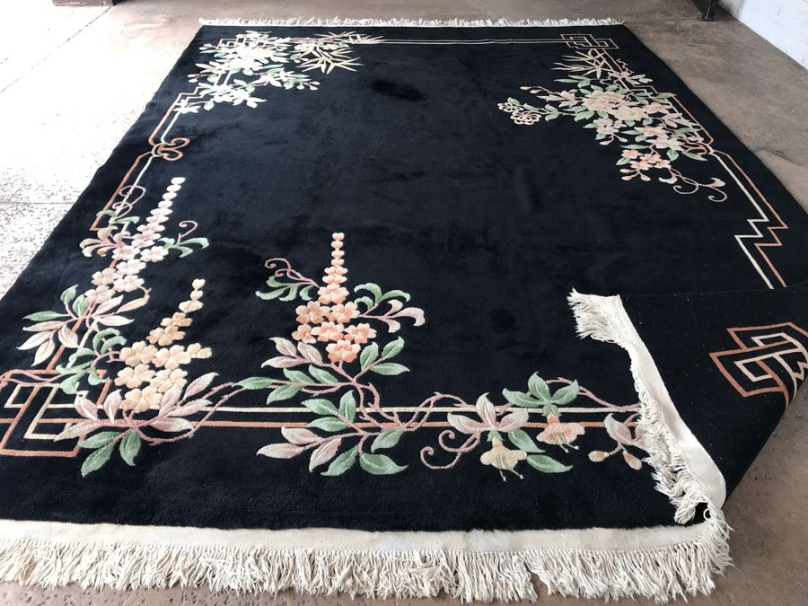 JUST ADDED - Stunning Chinese Black Wool Area Rug 9' X 12'10' Retailed $10,000 [Photo 1]
