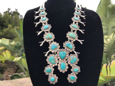 Stunning Sterling Silver Turquoise Native American Squash Blossom Necklace 260g