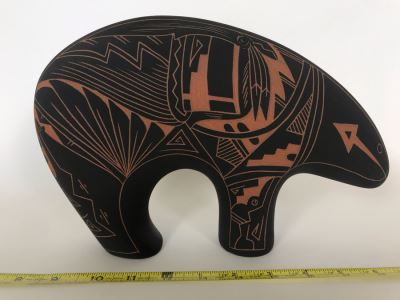 Signed Native American Acoma New Mexico Pottery Bear By A. C. 11W X 3D X 7.5H