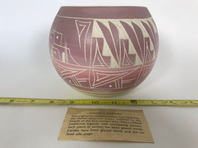 Signed Native American Hozoni Pottery Hand Painted 6W X 5H