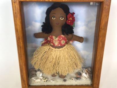 Vintage Hawaiian Doll In Shadowbox Frame 9W X 2.5D X 11H