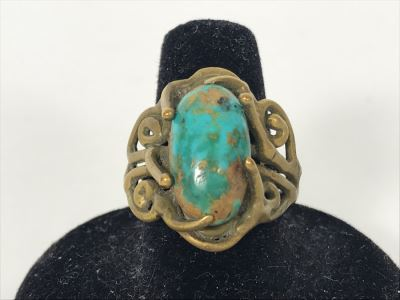 Old Turquoise Brass Ring Size 9.5 (Needs Cleaning
