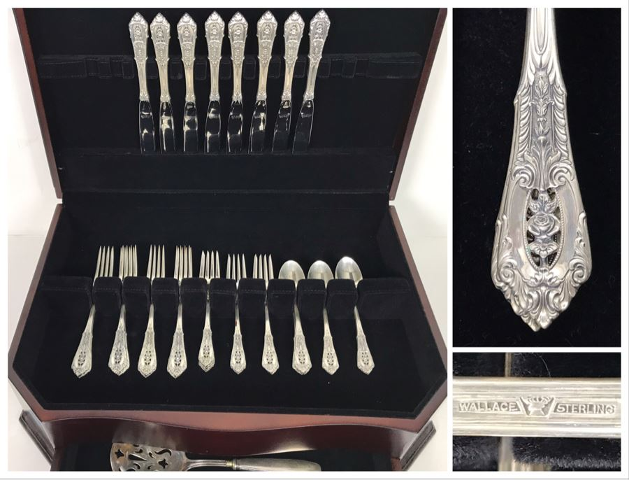 Sterling Silver Wallace Flatware Service For 8 With Large Silver Storage Box With Drawer Incl Sterling Handled Serving Spoon - (872g Not Including Knives And Serving Piece) [Photo 1]