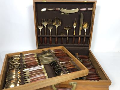 Never Used 91 Piece Mint Jean-Claude Rosewood & Bronze Mid-Century Modern Complete Thailand Flatware & Servingware Set With Nice Wooden Storage Box