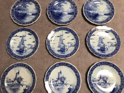 Collection Of Nine Royal Sphinx Maastricht Blue & White Delfts Plates Made In Holland 12R