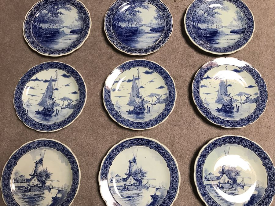 Collection Of Nine Royal Sphinx Maastricht Blue & White Delfts Plates Made In Holland 12R [Photo 1]
