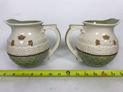Pair Of Irish Grasslands Road Ceramic Glazed Pitchers 7W X 6H