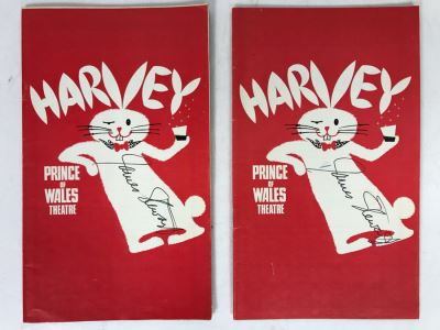 Pair Of James Stewart Hand Signed Harvey Play Theatre Programs (It's A Wonderful Life Lead Actor)