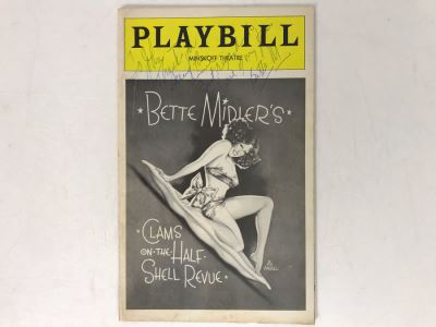 Hand Signed Bette Midler Playbill Theatre Program Clams On The Half Shell Revue