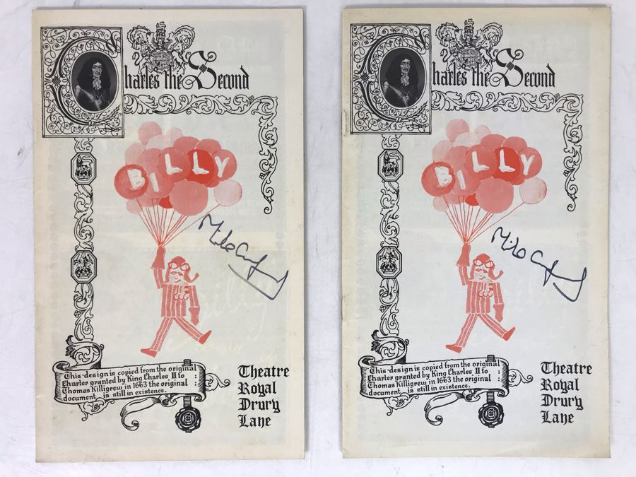 Pair Of Hand Signed Michael Crawford Theatre Musical Programs Billy Theatre Royal Drury Lane [Photo 1]