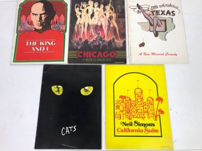 Collection Of Five Theatre Programs: The King And I, Chicago, The Best Little Whorehouse In Texas, Cats, Neil Simon's California Suite