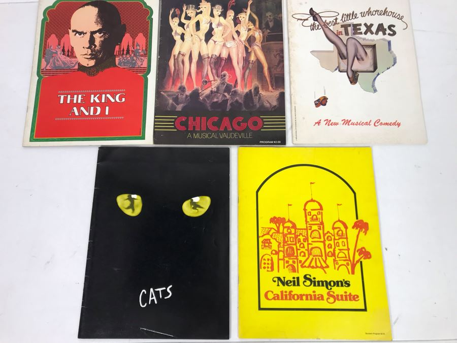 Collection Of Five Theatre Programs: The King And I, Chicago, The Best Little Whorehouse In Texas, Cats, Neil Simon's California Suite [Photo 1]