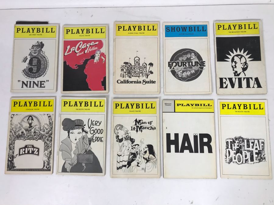 Collection Of 10 Vintage Playbill Theatre Programs [Photo 1]