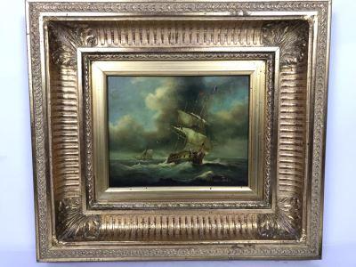 Original Listed English Artist Robinson Jones Sailing Ship Painting (Frame: 18 X 16.5, Board: 10 X 8)