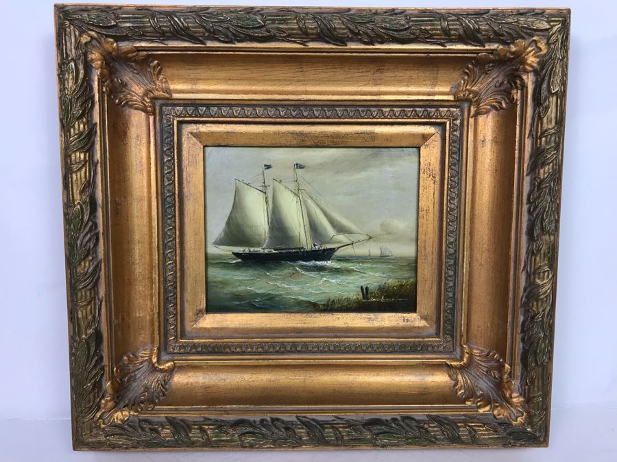 Original Listed Artist Jean Michel Laurent Sailing Ship Painting On Canvas In Stunning Frame (Frame: 20 X 18, Canvas: 10 X 8) [Photo 1]