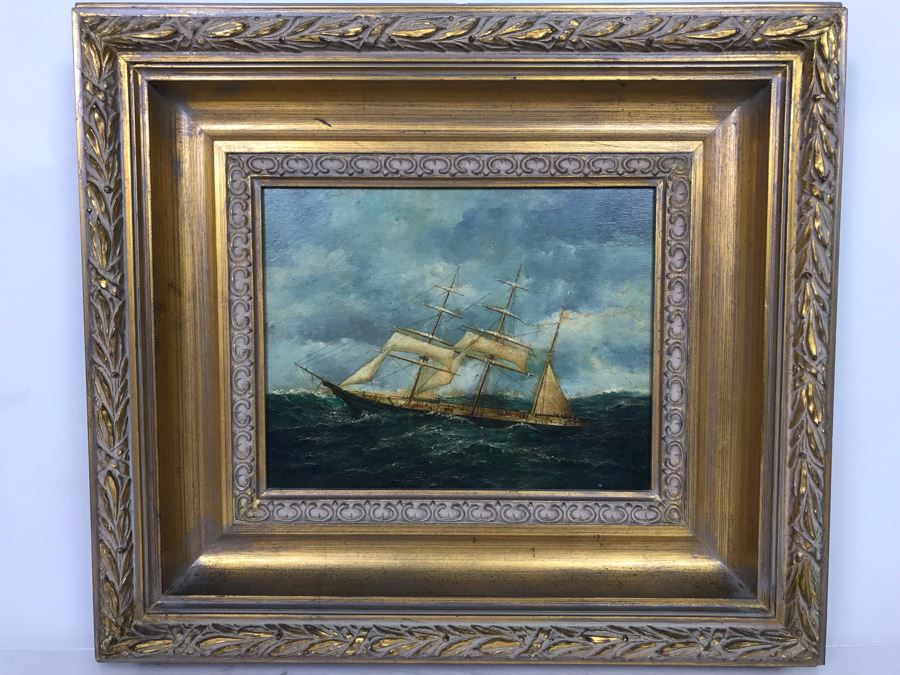 Original Signed Sailing Ship Painting On Board - Signature Illegible (Frame: 18 X 16, Board: 10 X 8) [Photo 1]