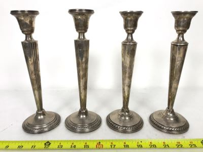 Set Of Four Weighted Sterling Silver Candlesticks Candle Holders 10H