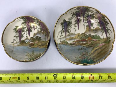 Pair Of Signed Hand Painted Japanese Bowls 6R, 4.75R