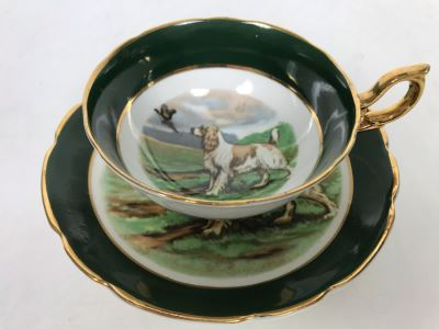 Gold Rimmed Regency Bone China Cup And Saucer With Dog And Pheasant