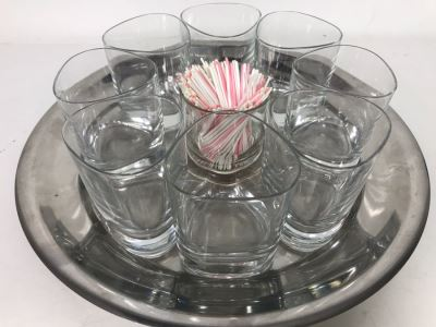 Vintage Barware Set With Metal Tray, 8 Drinking Glasses And Center Glass (Tray: 13.5R, Glasses: 3.75H)