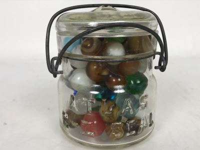 Old Atlas E-Z Seal Glass Jar Filled With Some Good Old Glass Marbles - See Photos