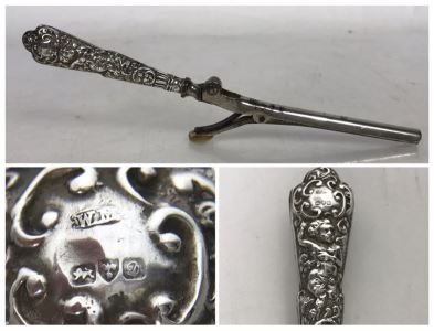 Antique English Repousse Sterling Silver Handled Curling Iron