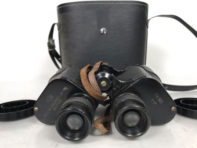 Vintage Mid-Century Japanese Stamped Made In Occupied Japan Post War Binoculars 7X50 By Ofuna With Case