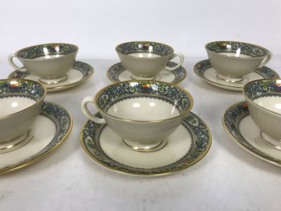 Six Lenox China Autumn Pattern Footed Cups And Saucers (Cups: 4R X 2H, Saucer: 5.75R) - Replacements Value $600